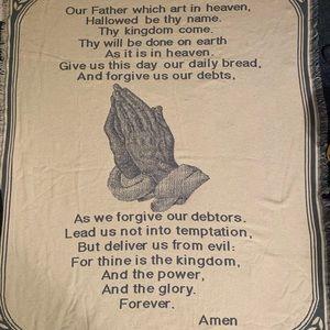 "Lord's Prayer throw, 46"" x 55"""